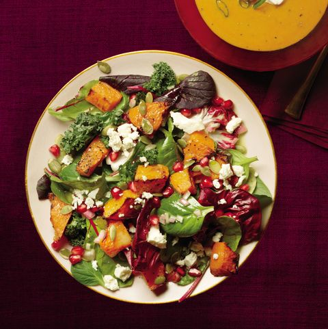 Dish, Food, Cuisine, Salad, Ingredient, Pomegranate, Plate, Meal, Goat cheese, Vegetarian food,