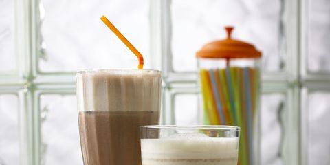 Drink, Drinkware, Food, Tableware, Dairy, Non-alcoholic beverage, Chocolate milk, Coffee milk, Coffee, Milkshake,
