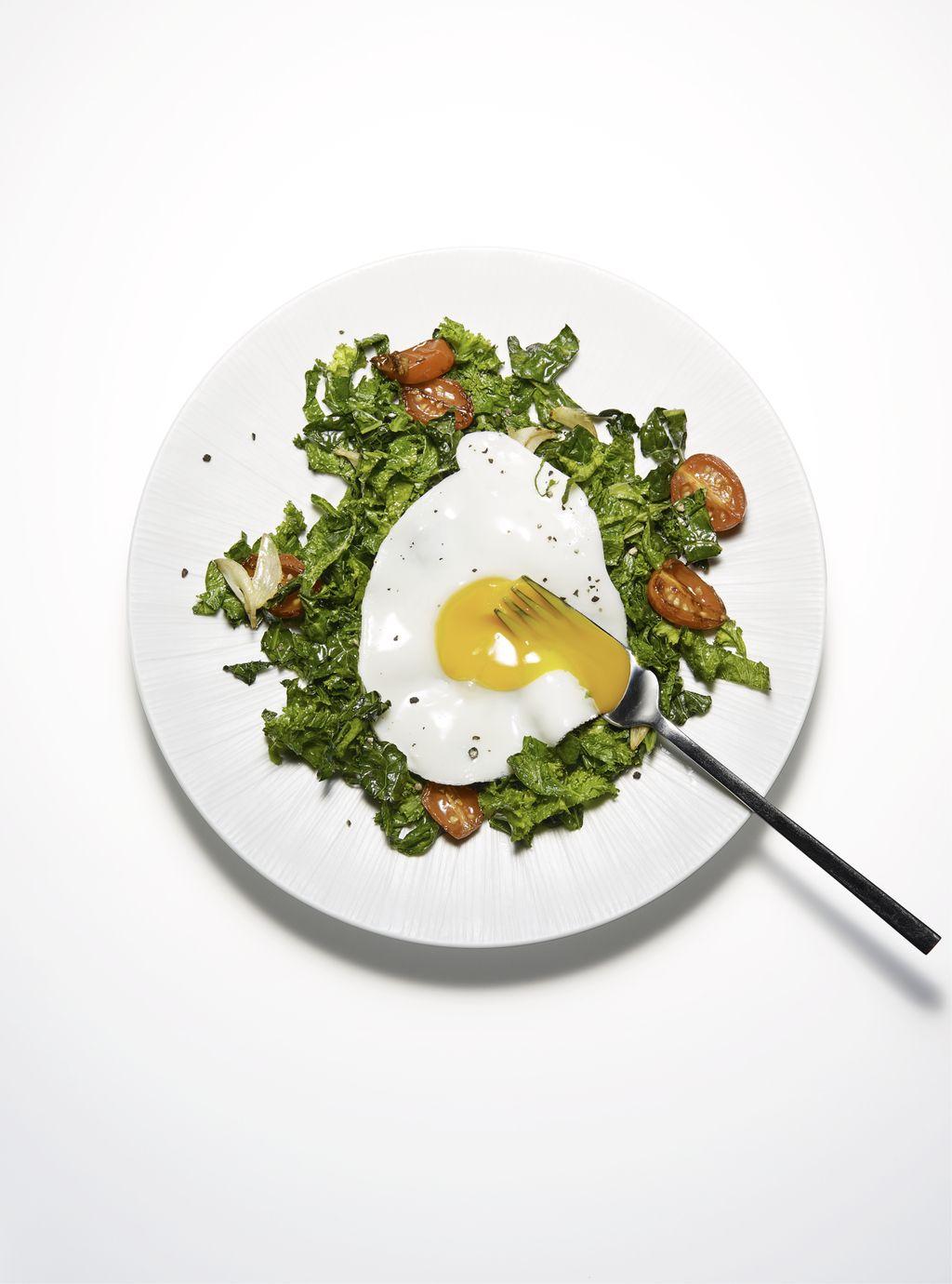 Sunny-Side-Up Eggs on Garlicky Greens