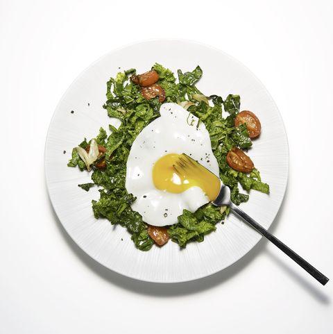 Dish, Food, Fried egg, Cuisine, Ingredient, Leaf vegetable, Poached egg, Egg, Spinach, Breakfast,