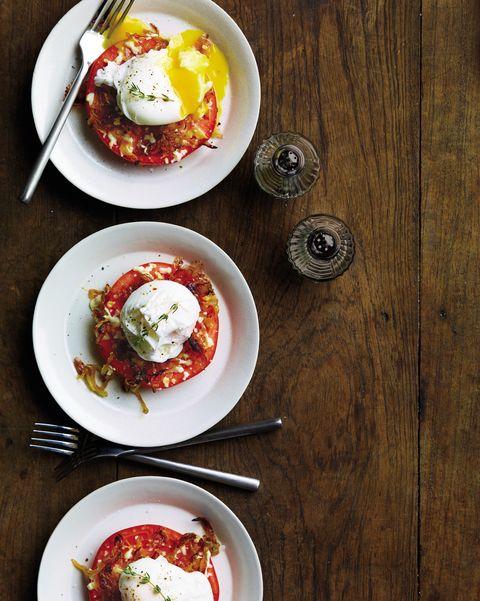 tomato and egg stacks