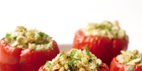Food, Ingredient, Stuffed peppers, Dishware, Produce, Serveware, Dish, Cuisine, Recipe, Vegan nutrition,