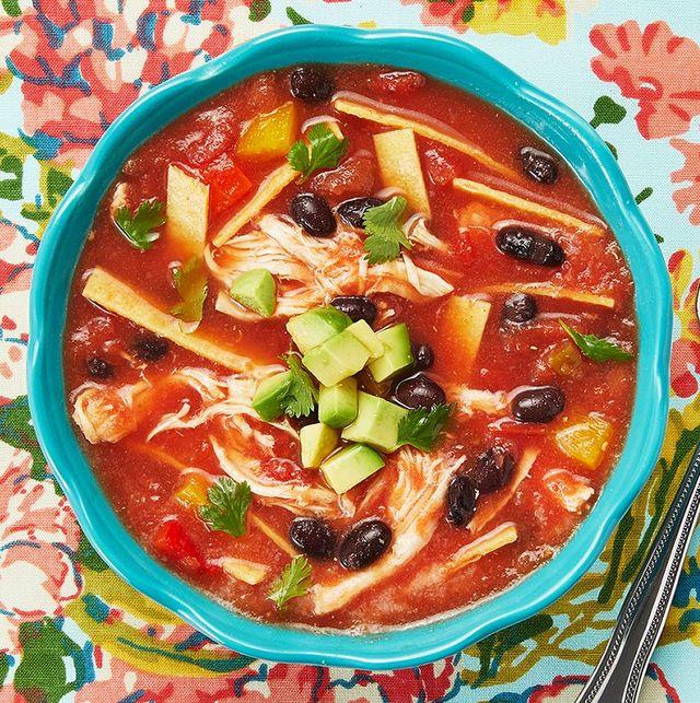 recipes using rotisserie chicken tortilla soup in blue bowl