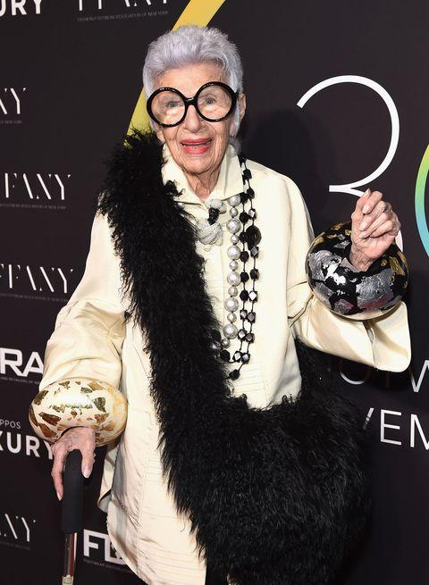 iris apfel, oudere vrouw, mode icoon