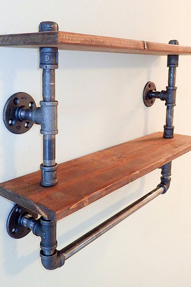 reclaimed wood pipe shelves