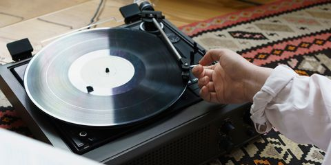 record player on floor