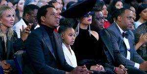 Blue Ivy Carter with her parents Beyonce and Jay Z at the60th Annual GRAMMY Awards.