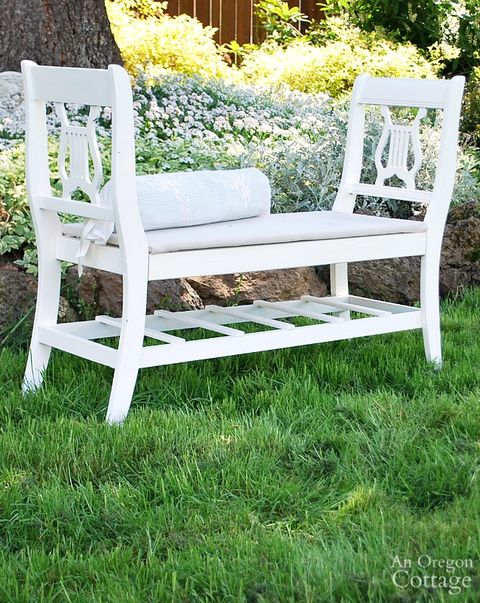 recycled chairs french style backyard bench
