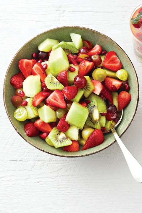 red and green fruit salad with mint syrup christmas desserts