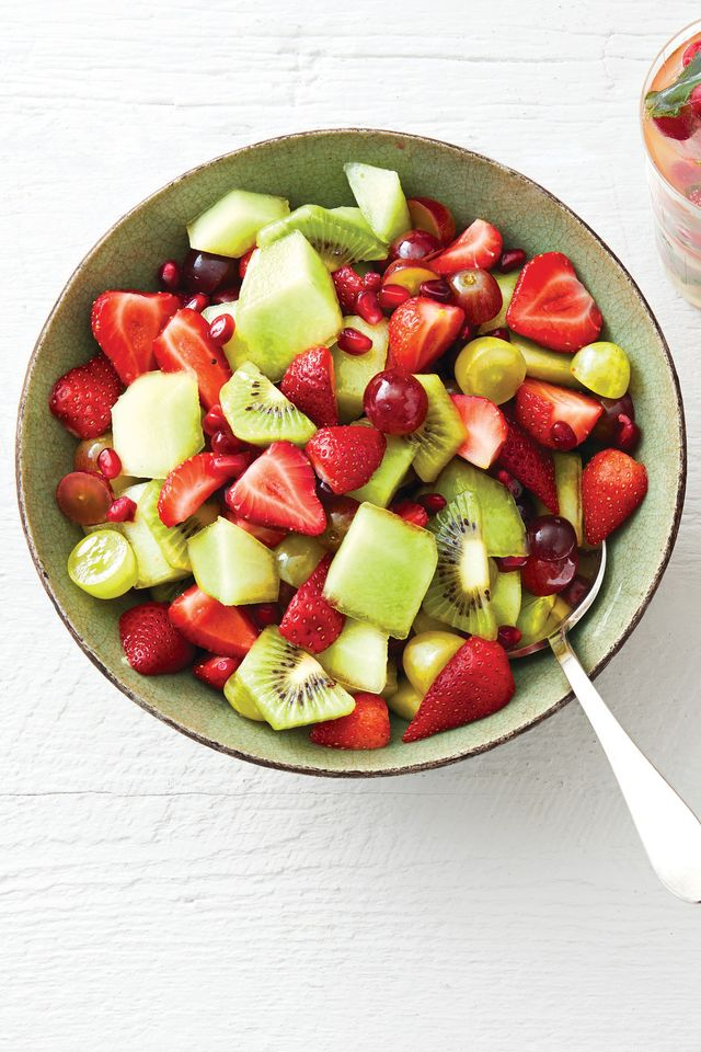 red and green fruit salad with mint syrup