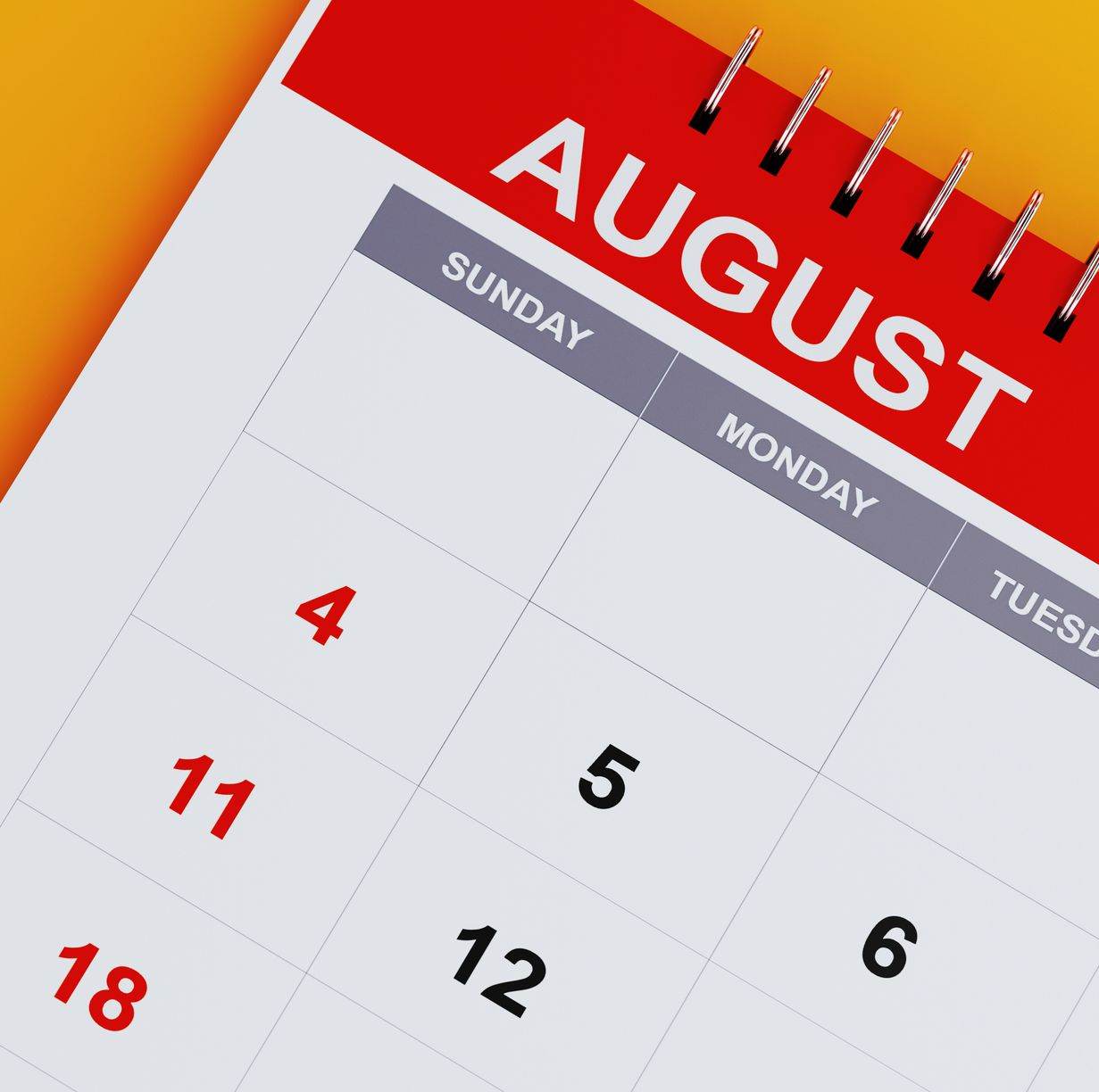 Red August 2019 Calendar On Yellow Background