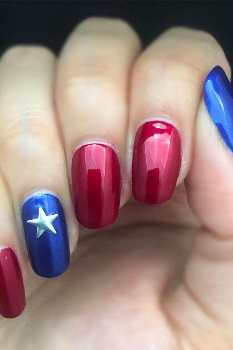 red blue star mani