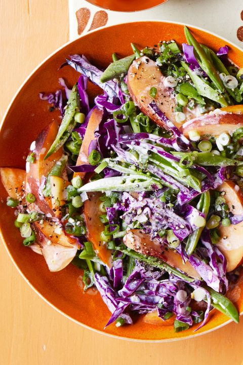 bbq side dishes -red cabbage and nectarine slaw