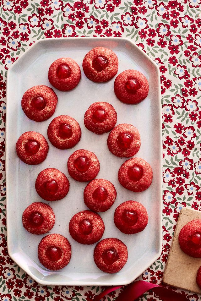 red cherry thumbprint cookies