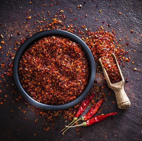 red chili pepper flakes shot from above
