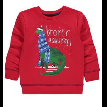 Red Dinosaur Christmas Sweatshirt
