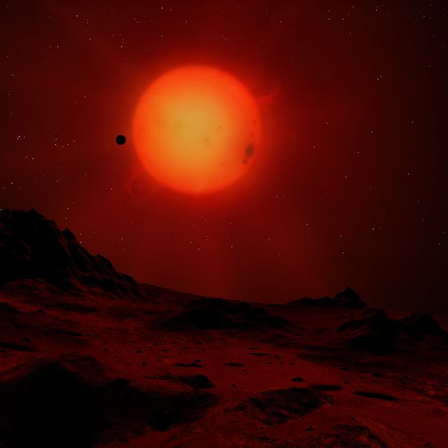 red dwarf seen from a planet, illustration