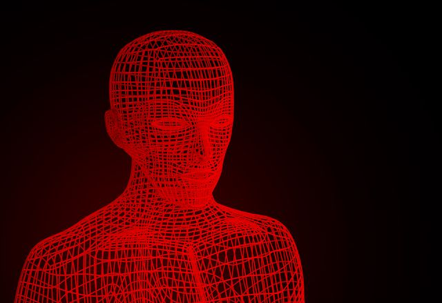 red evil on halloween's day wireframe model with connection lines on black background, artificial intelligence in futuristic technology concept, 3d illustration
