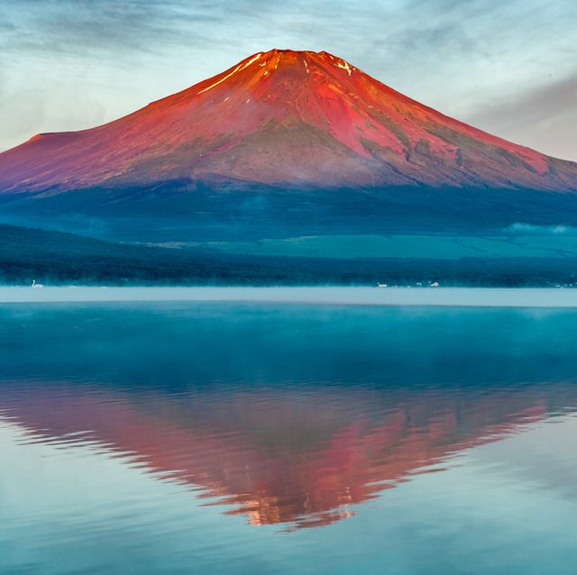 red fuji, lake yamanaka reflection