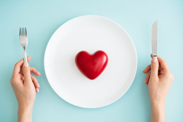 red heart on white plate