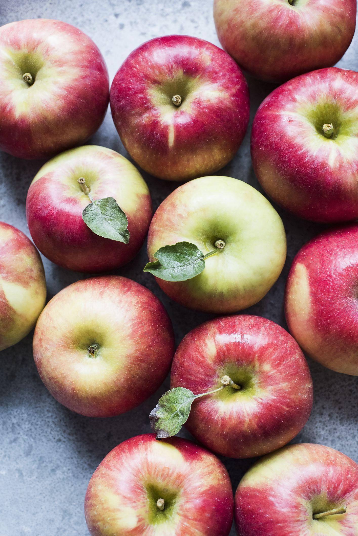 Red Honeycrisp apples, overhead view