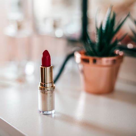 red lipstick on  dressing table