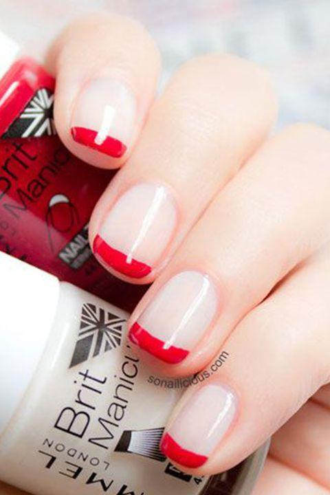 Finger, Blue, Skin, Red, Nail care, Nail, Text, Nail polish, White, Manicure,