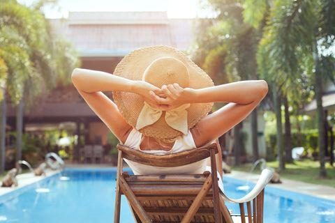 Leisure, Swimming pool, Water, Summer, Vacation, Sitting, Fun, Outdoor furniture, Furniture, Swimwear,
