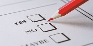 Red Pencil on a Questionnaire Form