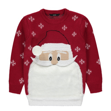 Red Santa Beard Christmas Jumper