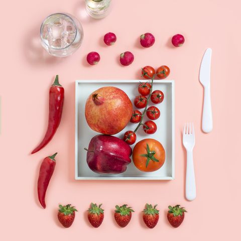 red vegetables and fruits still life