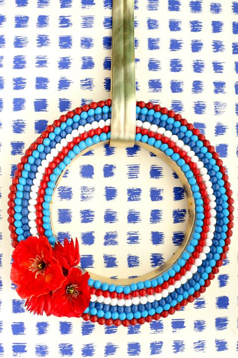 red white and blue candy 4th of july wreaths