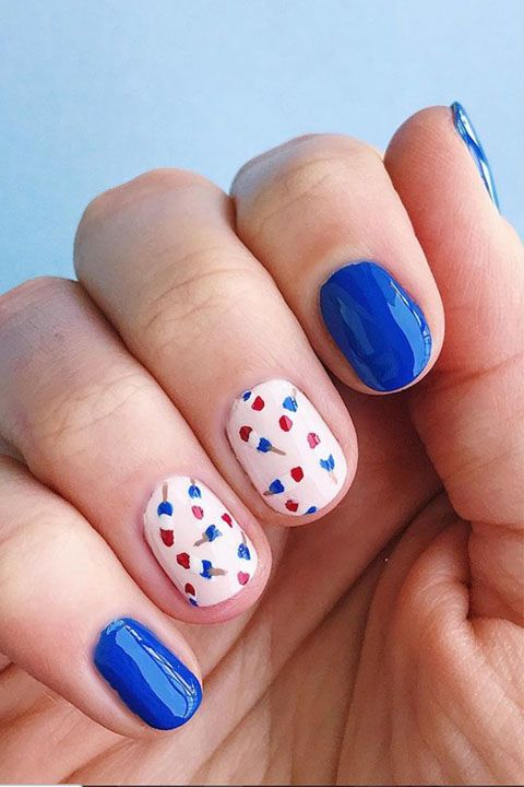 red white blue mani