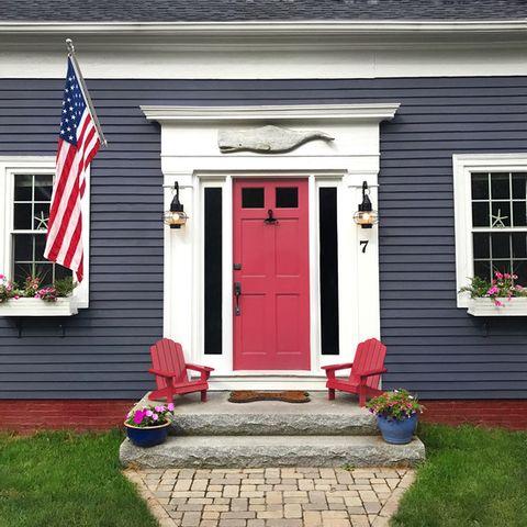 dark house with a red door