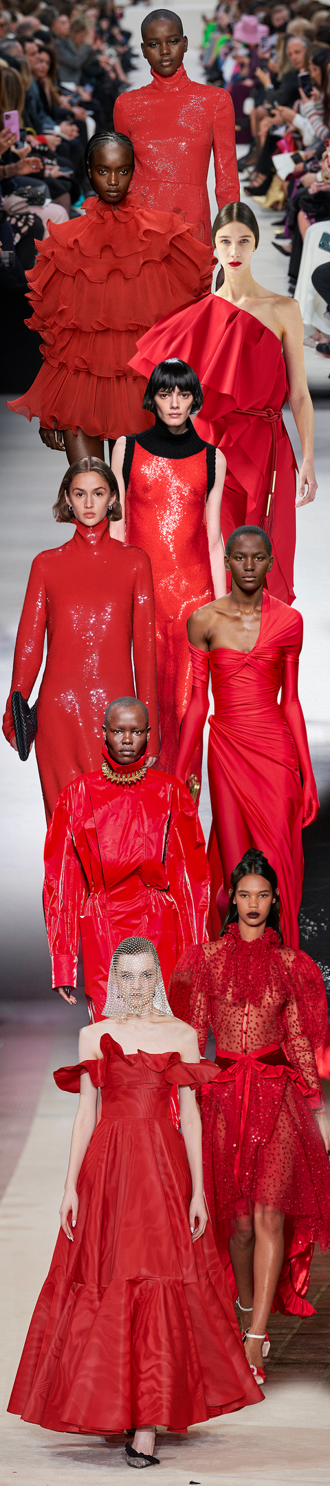Red, Fashion model, Fashion, Clothing, Haute couture, Fashion design, Dress, Fashion show, Event, Runway,