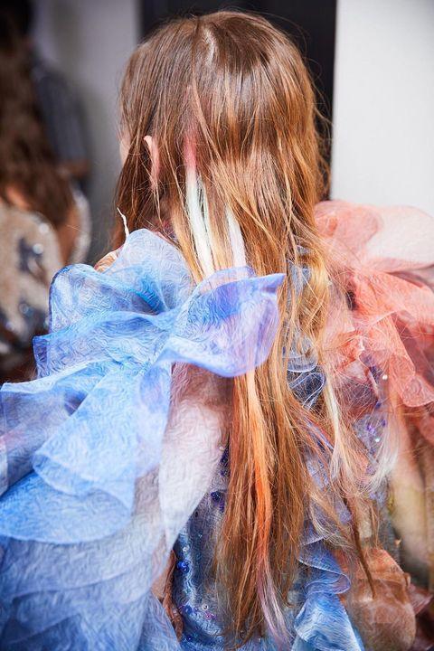 Hair, Blue, Hair coloring, Hairstyle, Fashion, Long hair, Pink, Human, Brown hair, Blond,