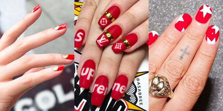 19 easy red nail designs cute nail art ideas for a red manicure simple twists on the classic color prinsesfo Images