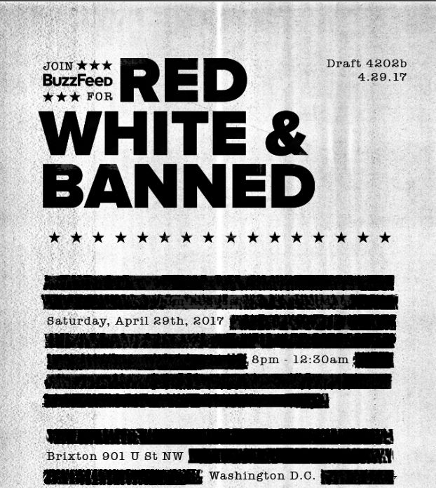 "​The invitation for Buzzfeed's ""Red, White & Banned"" party."