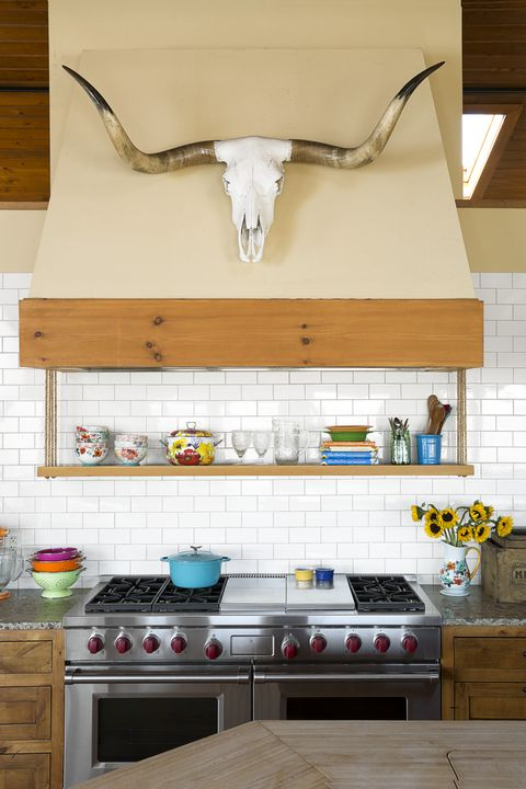 ree drummond shelf above stove kitchen storage ideas