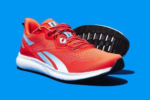 Shoe, Footwear, Sneakers, Red, Orange, Blue, Walking shoe, Running shoe, Outdoor shoe, Carmine,