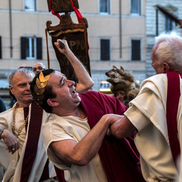 Reenactment of the Ides of March, the day of the killing of...