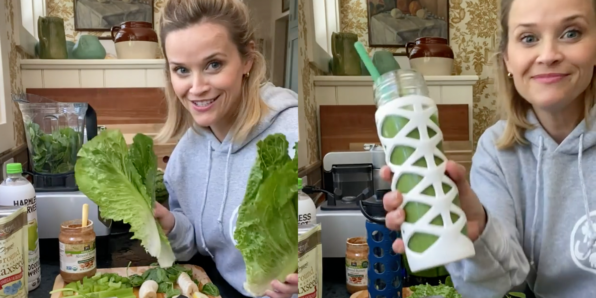 Reese Witherspoon Shared Her Daily Green Smoothie Recipe for Glowing Skin at 44