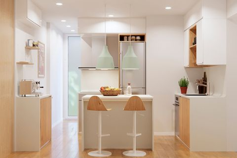 Cocina y baño reformados y decorados con estilo nórdico