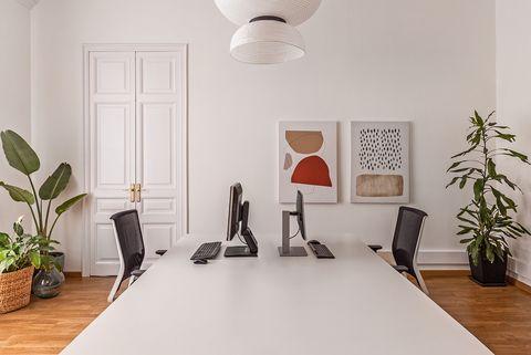 oficina en edificio de estilo señorial decorada con fibras, plantas y tonos cálidos