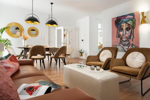 salón comedor de diseño contemporáneo con aires industriales