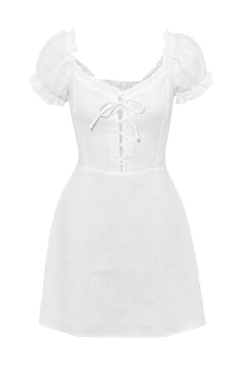 reformation milkmaid style white dress