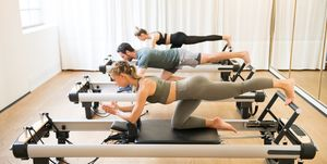 A reformer is a 'machine' invented byJoseph Pilatesin the 1950s to help dancers get stronger.