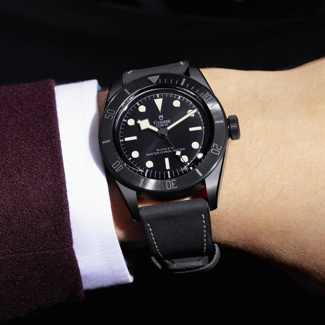 tudor black bay watch worn on wrist
