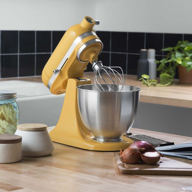 yellow stand mixer open