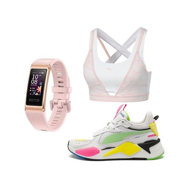 bodegón de regalos reloj deportivo, sujetador y zapatillas